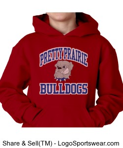 Youth Bulldogs Hoodie Red Design Zoom